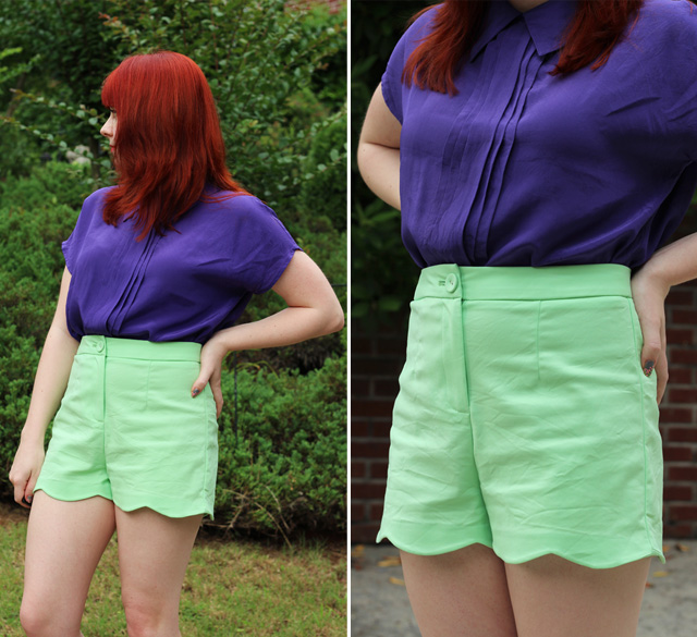 Purple Silk Blouse, Green Scalloped Shorts