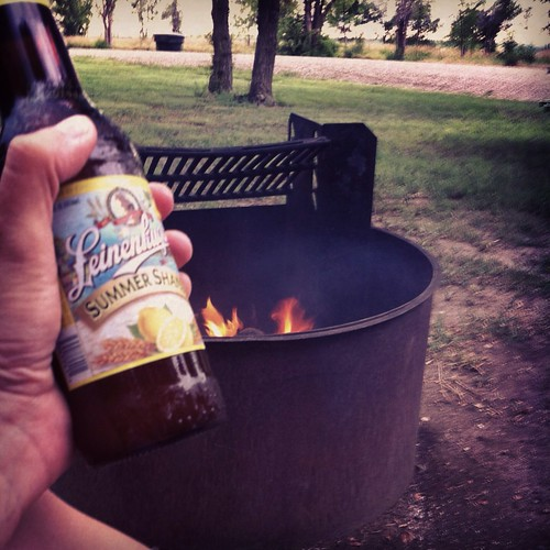 Beer and campfire