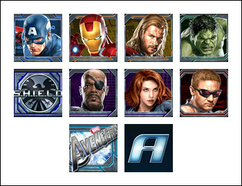 free The Avengers slot game symbols