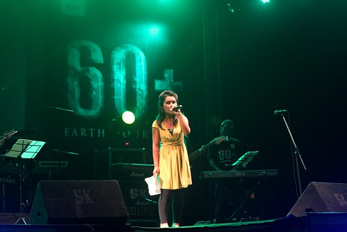 "Ritu Lama performs live in Pokhara in front of a crowd on the occasion of Earth Hour alongside nationally celebrated singers. ""I sang with all my heart and I am glad the audience liked my performance."" © WWF Nepal, Hariyo Ban Program/ Pallavi Dhakal"