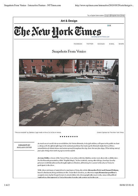 The NYTimes Snapshots From Venice Biennale 2013