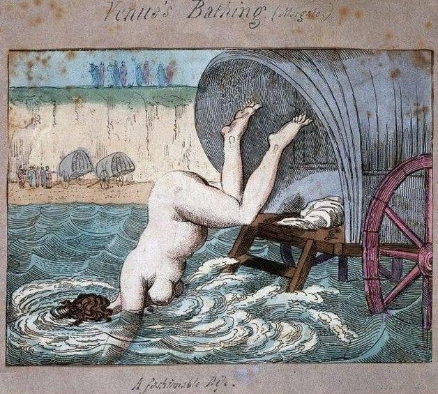 Baño de Venus. Coloreado a mano grabado de 1790. Thomas Rowlandson