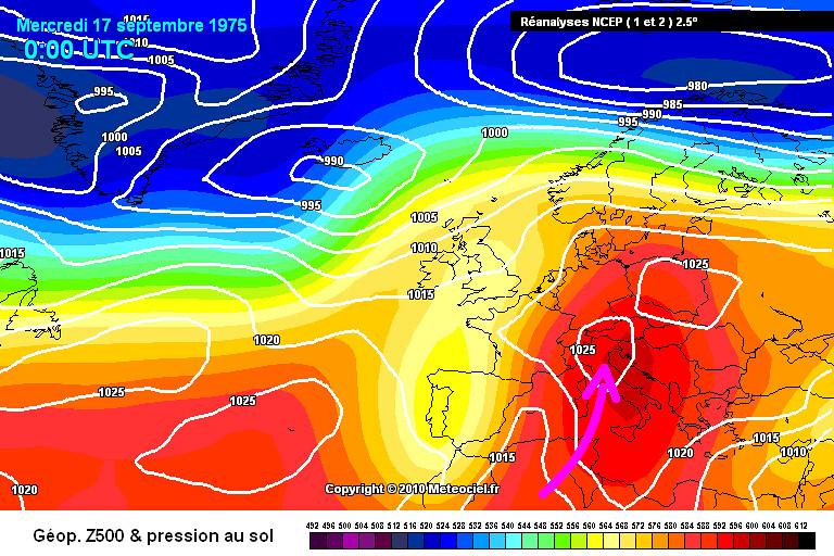 carte de situation des records mensuels absolus de chaleur des minimales et des maximales en Corse le 17 septembre 1975 météopassion