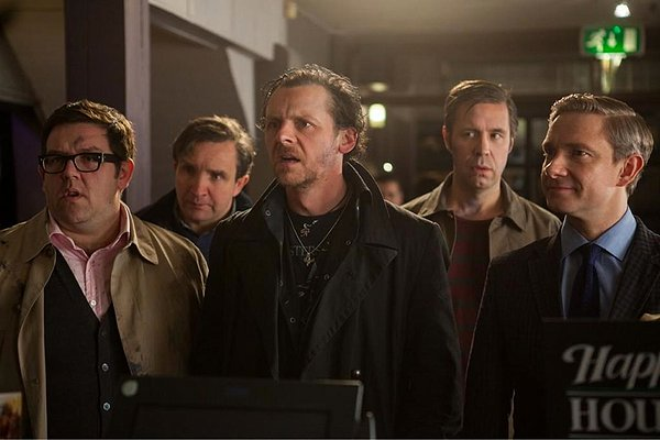 (L-R) Nick Frost, Eddie Marsan, Simon Pegg, Paddy Considine and Martin Freeman get a little more than they bargained for at THE WORLD'S END.