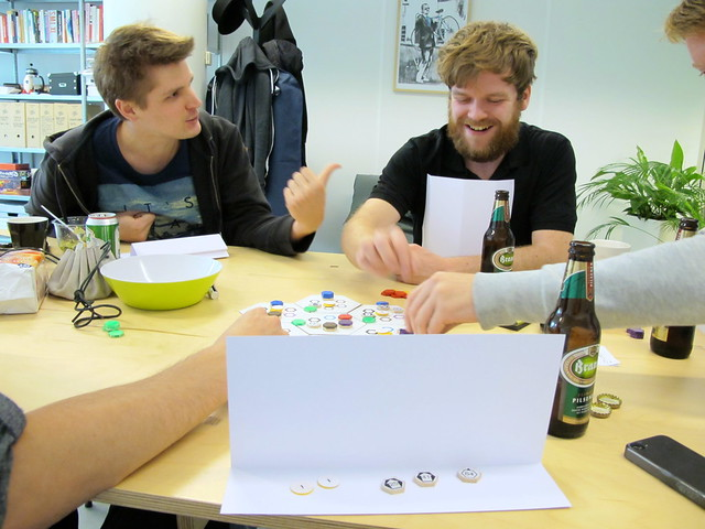 Testing Tim's strategic board game at Prototype Friday