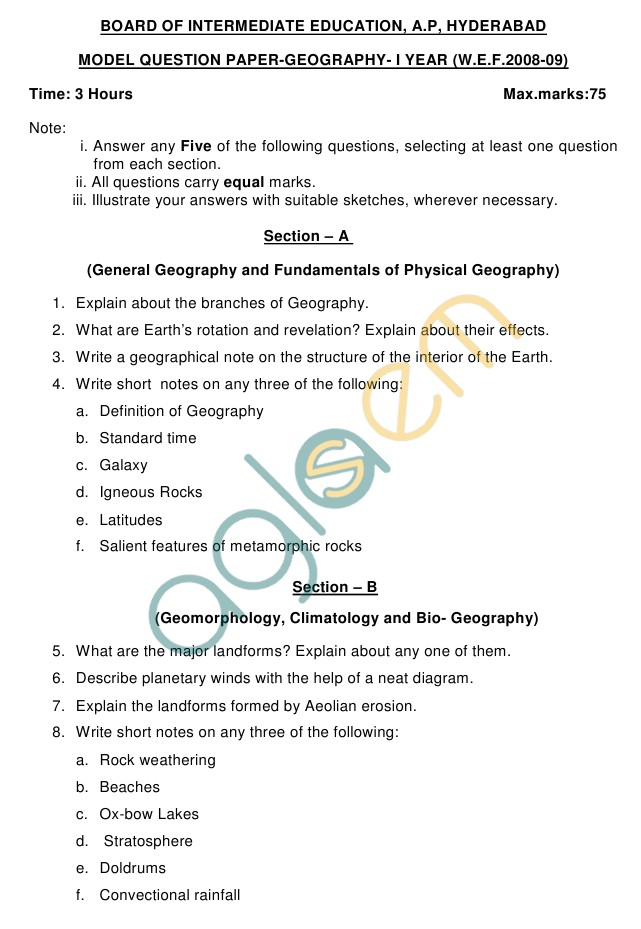 AP Board Intermediate I Year Geography Model Question Paper