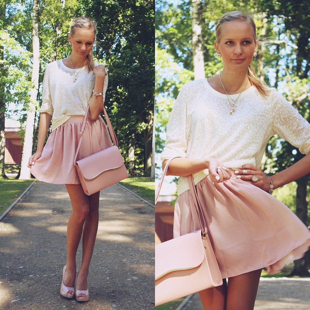 top seven outfits, top 7 outfits, fashion blog, fashion blogger, call me maddie, oasap soft pink skater skirt, nude heels,