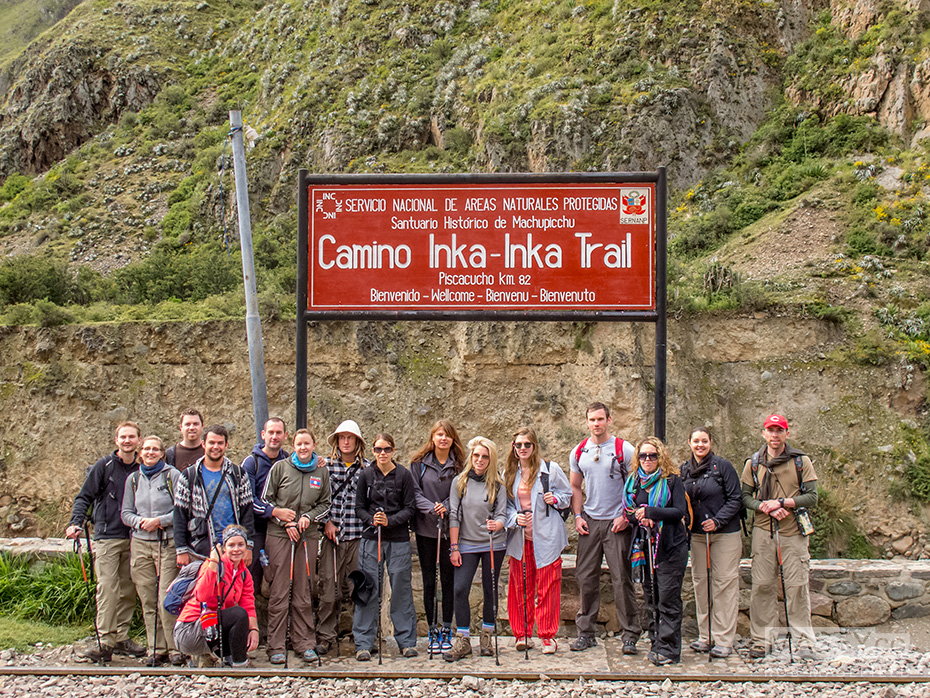 The customary team photo before heading off along the Inca Trail.