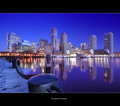 city longexposure bridge cruise blue usa reflection boston skyline architecture modern america sunrise ma harbor downtown cityscape dusk massachusetts historic chain financialdistrict bluehour shobeiransari
