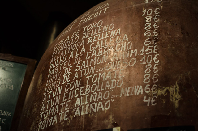 The decor of Casa Morales is lovely, the menu is displayed on giant old wine casks.