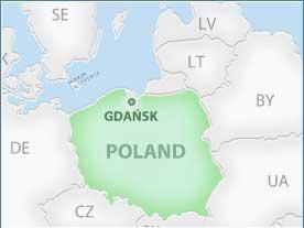 Mapa de Gdansk dentro de Polonia (dónde está Gdansk)