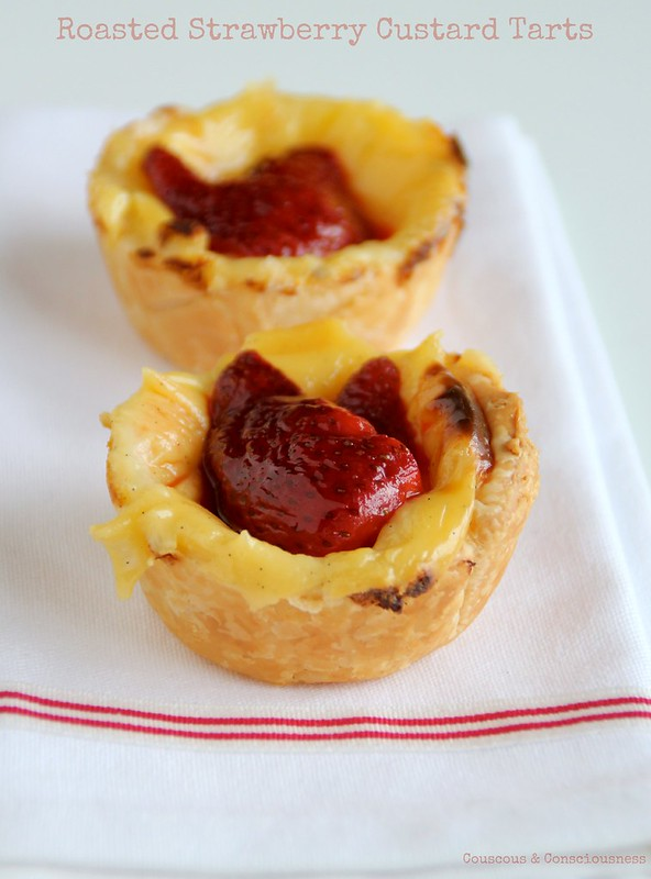 Roasted Strawberry Custard Tarts 1