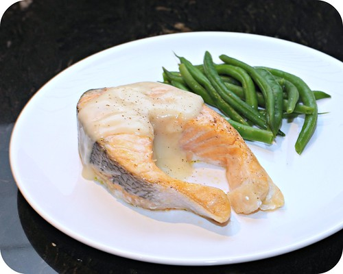 Roast Salmon with White Wine Sauce