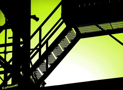 light white black green silhouette steps staircase scaffold