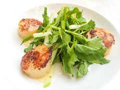 Grilled Scallops with Apple and Watercress Salad