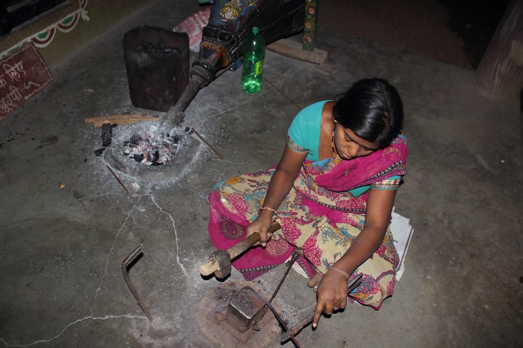 Demonstrating the steel work