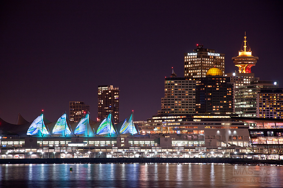 The Convention Centre sails all lit up.