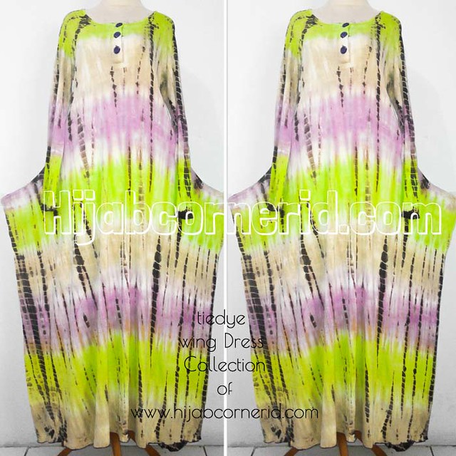 Wing Dress Tiedye Hijabcornerid Collection Green