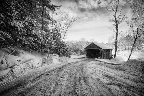 road bridge trees cold frozen day cloudy newengland newhampshire warner coveredbridge daltonbridge daltoncoveredbridge cliffordphotography robertallanclifford coveredbridge12