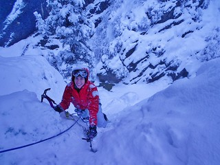 Becca Ice Climbing WI2 at New Funtier