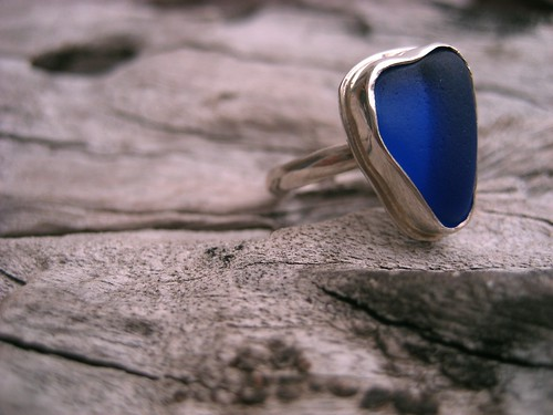Rare, Heart-shaped, Cobalt Blue Sea Glass Set in Fine Silver Bezel