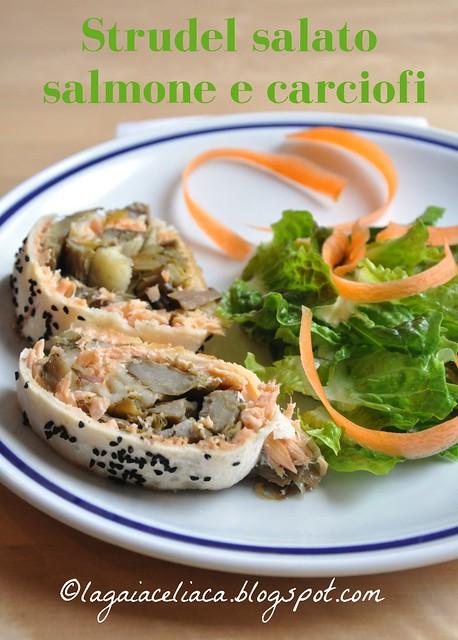 Strudel salato salmone e carciofi