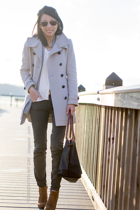 wool trench coat, gray open cardigan, olive pants, brown suede ankle boots