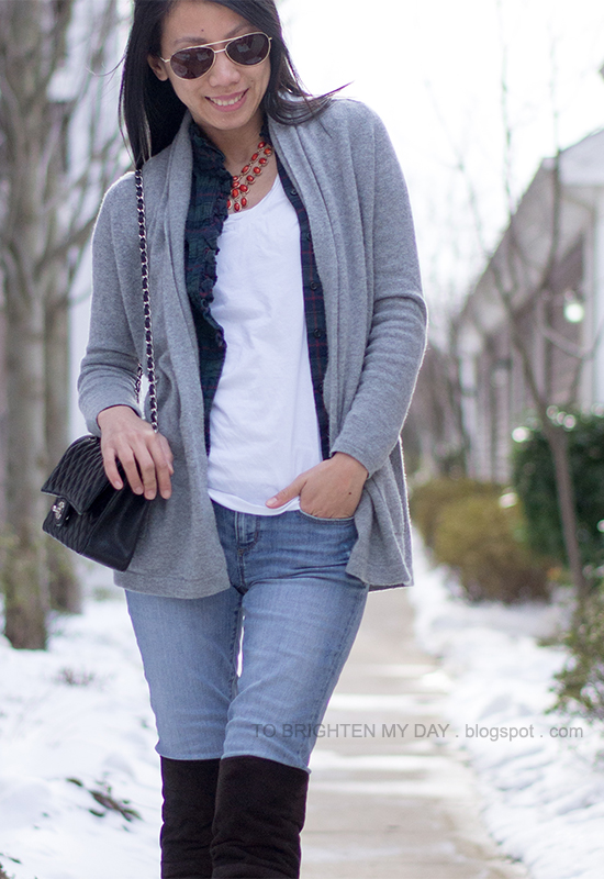 gray open cardigan, plaid shirt, white tee, over the knee brown suede boots