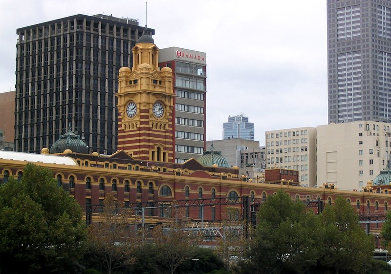 Flinders Street Station, from Southbank (March 2004)