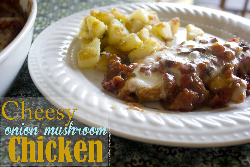 Cheesy onion mushroom chicken