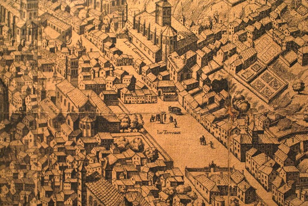 Ancienne carte illustrée de Lyon avec sur la place des Terreaux un corps pendu à la potence.