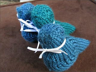 Flock of knitted birds