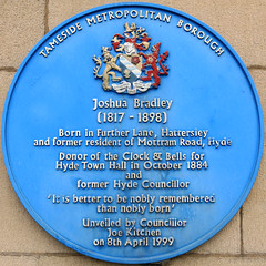 Photo of Joshua Bradley blue plaque