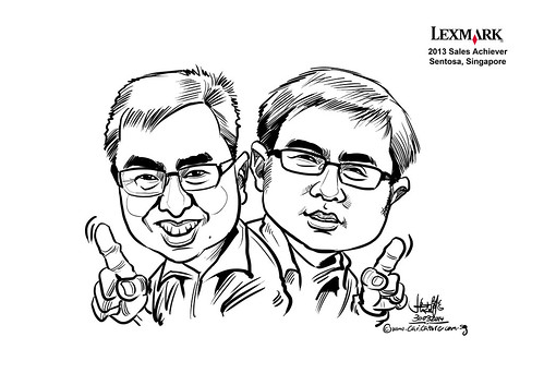 digital couple caricatures for Lexmark - Tristan Gu (brothers)