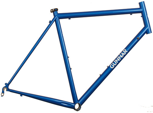 <p>Gunnar Sport in Blue Flame with White Builseye decals.  The most versatile road bike around, the Sport fits fenders and up to 28C tires (32C's and most 35C's will fit without fenders.  Great design for centuries, randonneuring and general riding.</p>