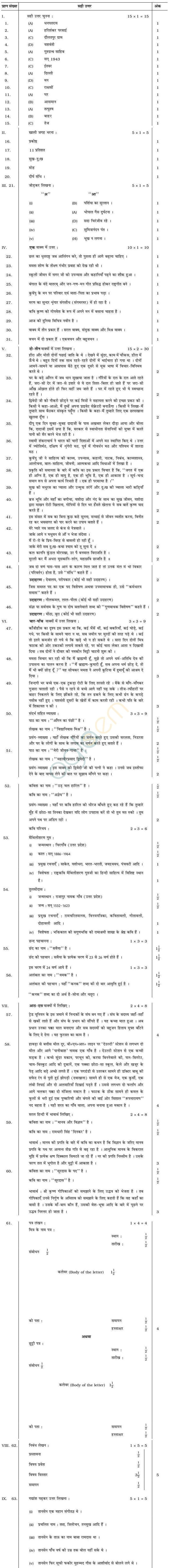 Karnataka SSLC Solved Question Paper April 2014 - Hindi