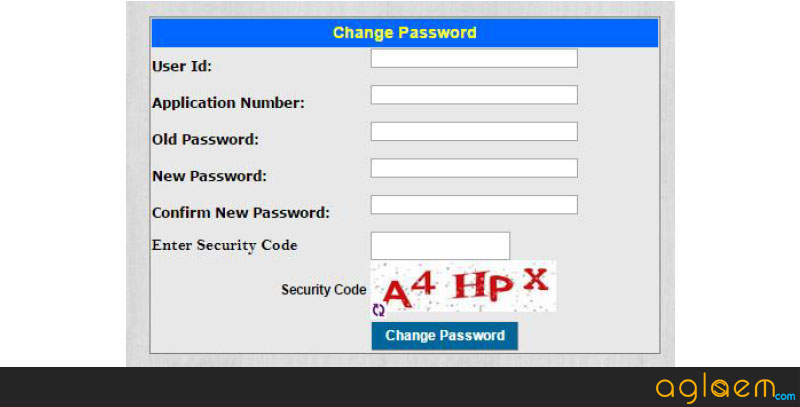 KCET Application Form Change Password