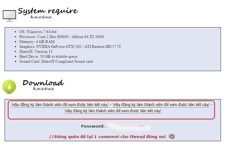 Link download bị ẩn