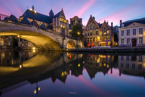 city longexposure sunset architecture canal belgium bluehour gent waterreflection