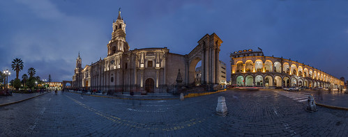 blue sunset peru church square pano hour bluehour arequipa