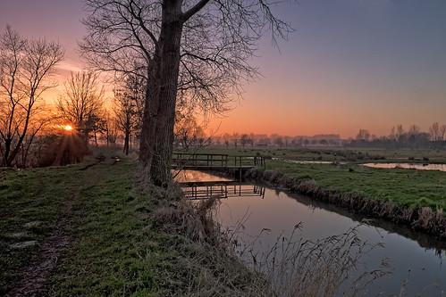 sunset zonsondergang belgium brugge wetlands bruges assebroeksemeersen