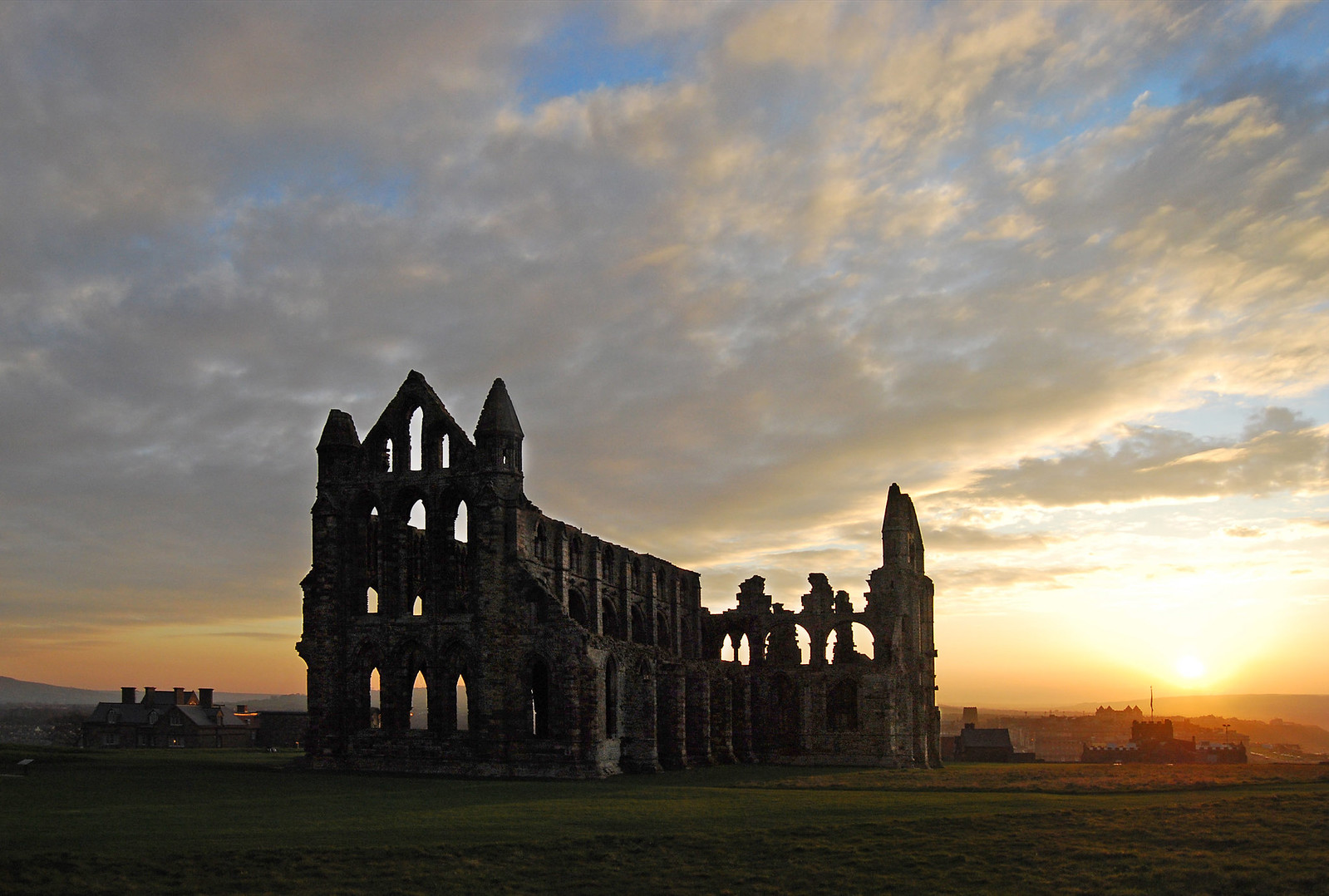 Whitby Abbey at sunset. Credit Ackers72