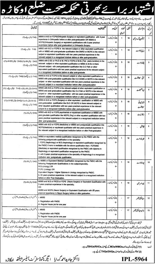 Health Department Okara Jobs 2016