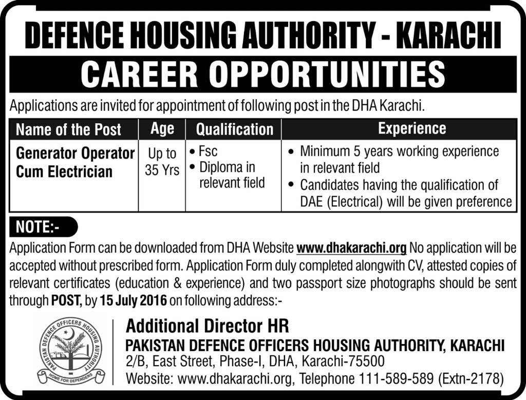Defense Housing Authority Karachi Generator Operator cum Electrician Required