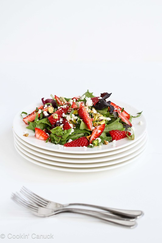 Strawberry, Pistachio, Feta Cheese & Basil Salad Recipe | cookincanuck.com #salad #recipe