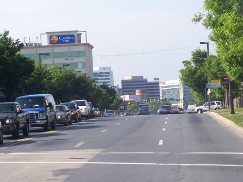 Looking into Silver Spring, northward, from DC on Georgia Avenue NW