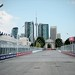 Looking down the frontstretch towards the Princes Gate and the skyline of Toronto, Ontario, Canada