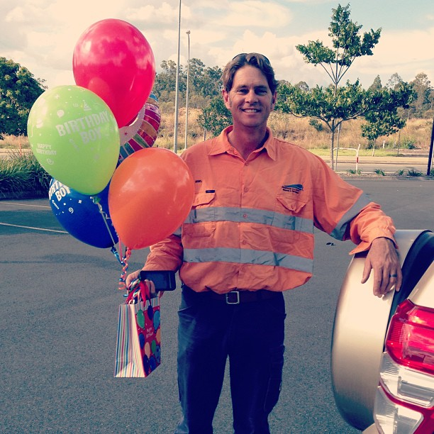 Surprising the birthday boy at work! #balloonsatworkareembarrassing #40th #lovehim