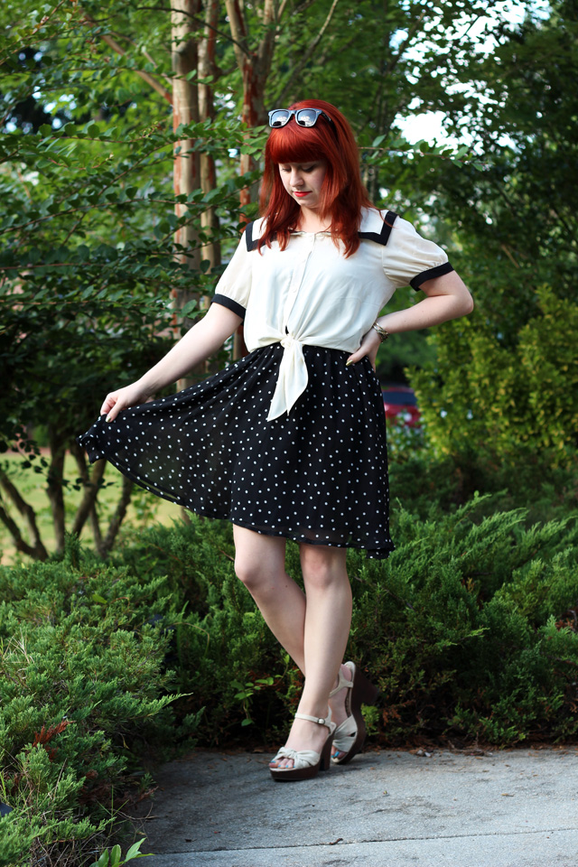 Nautical Sailor Blouse over a Polka Dot Dress