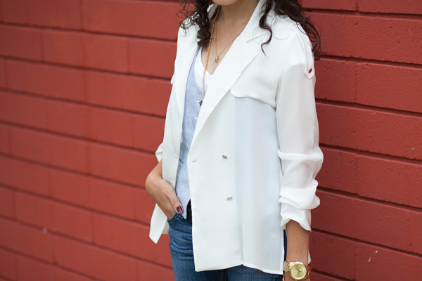Zara trench coat silk blouse, fashion blogger, San Diego